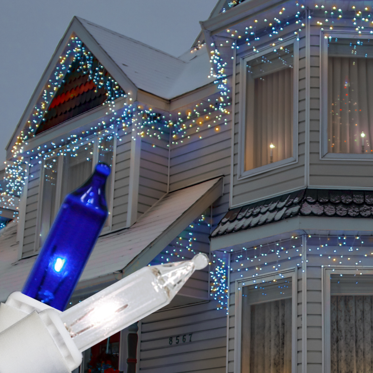 blue and white outdoor christmas lights photo - 7