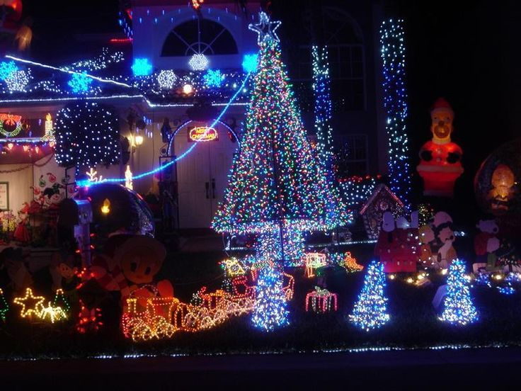 blue and white outdoor christmas lights photo - 9