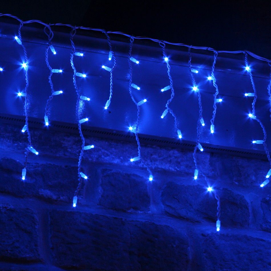 blue icicle lights outdoor photo - 1