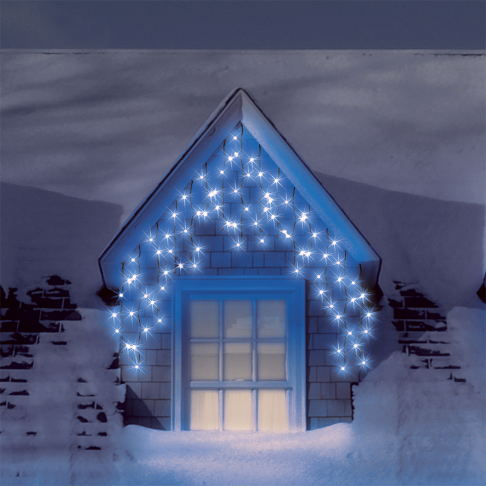 blue icicle lights outdoor photo - 3