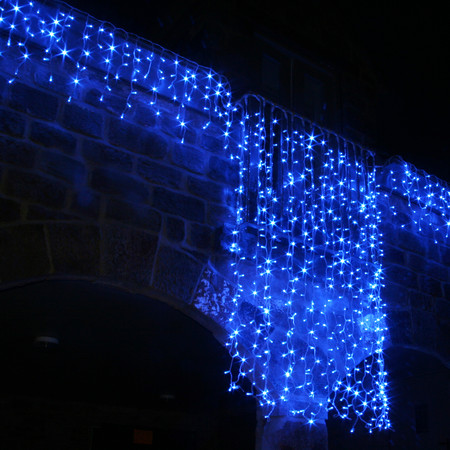 blue icicle lights outdoor photo - 6