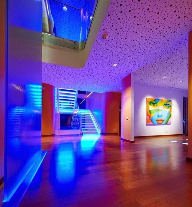 blue led ceiling lights photo - 2