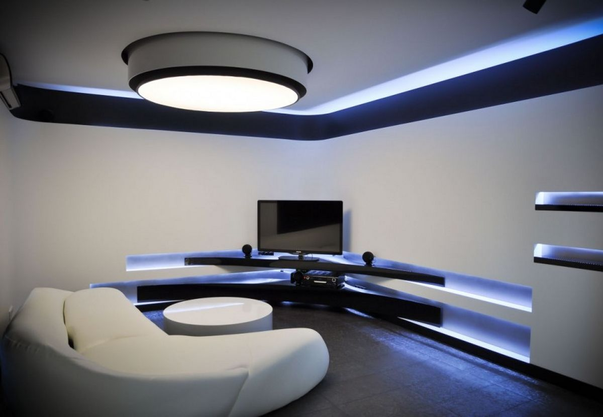 blue led ceiling lights photo - 3