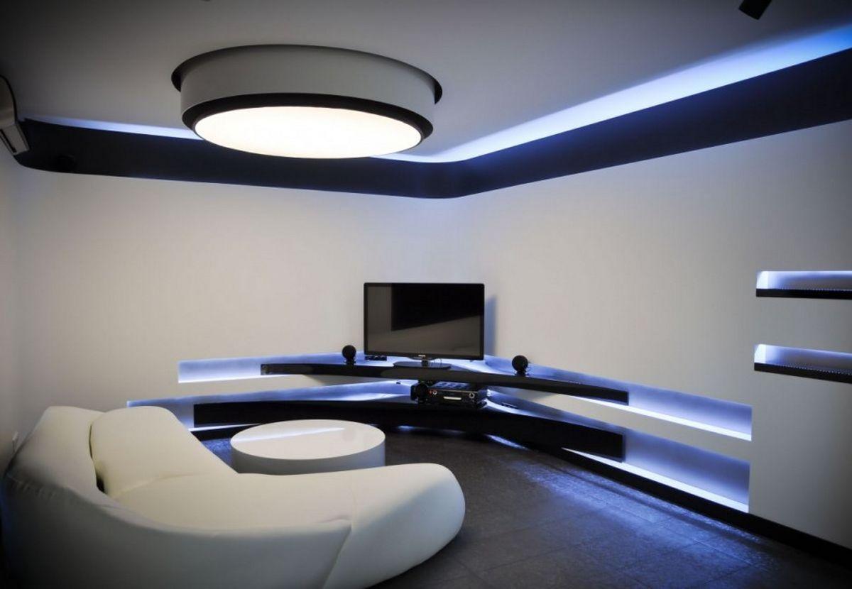 blue led ceiling lights photo - 3