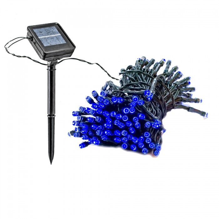 blue solar lights outdoor photo - 8