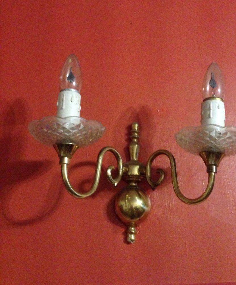 brass effect wall lights photo - 5