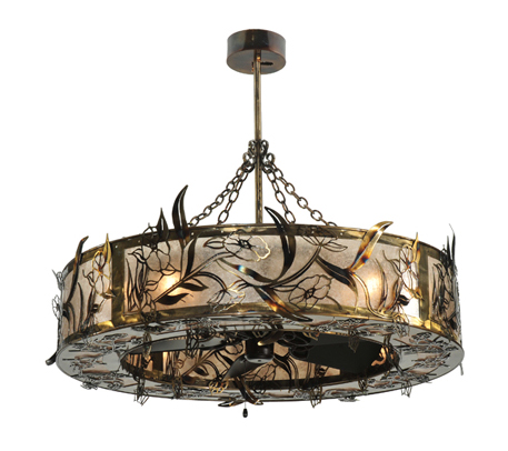 ceiling fan and chandelier photo - 3