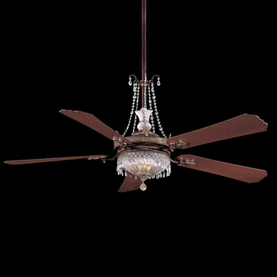 ceiling fan crystal chandelier photo - 2
