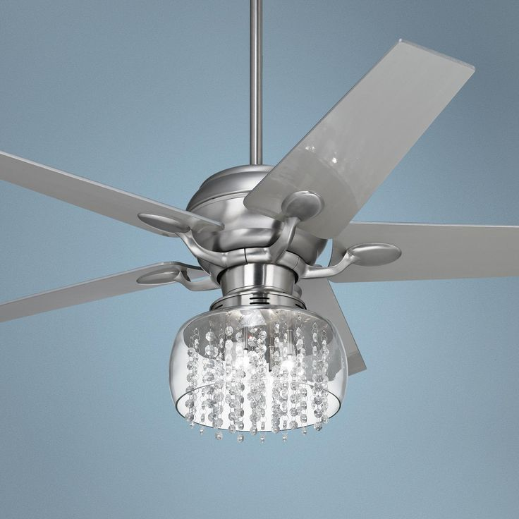 ceiling fan crystal chandelier photo - 3