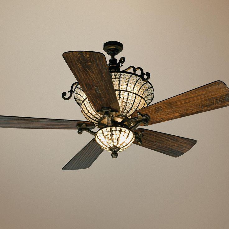 ceiling fan crystal chandelier photo - 5