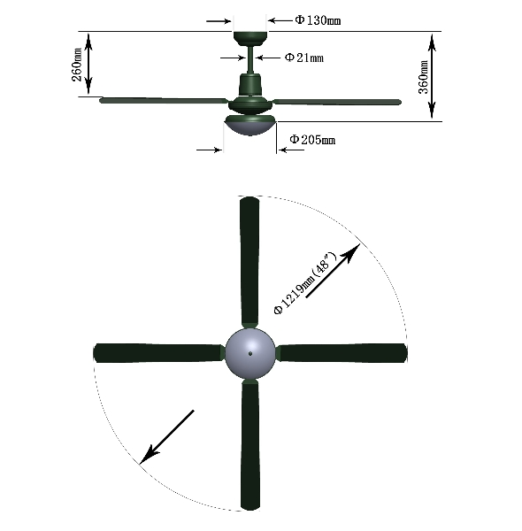 ceiling fan dimensions photo - 1