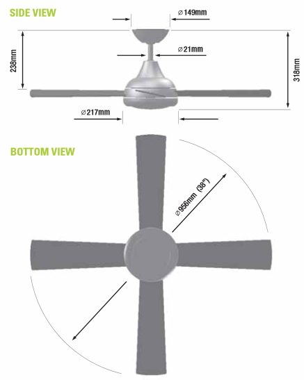 Sizes of ceiling fans blog avie for What size ceiling fan do i need