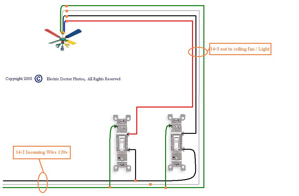 wiring a ceiling fan with red wire