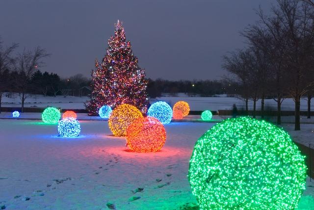 christmas light balls outdoors photo - 1