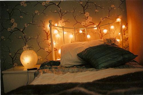 christmas lights on bedroom wall photo - 2