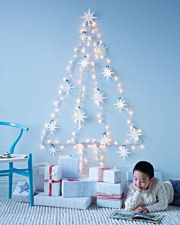 christmas tree of lights on wall photo - 7