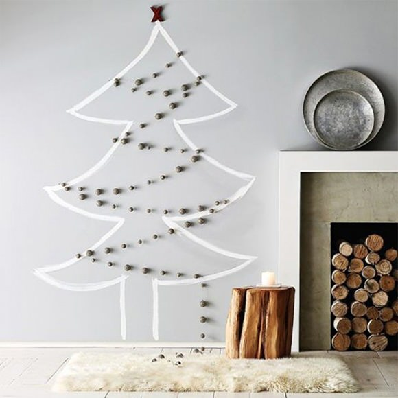christmas tree on wall with lights photo - 7