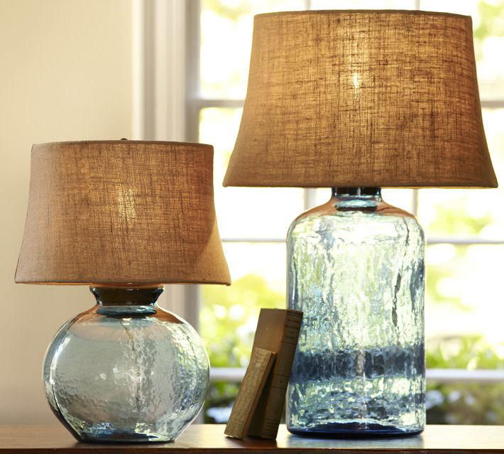 colored glass lamps photo - 2