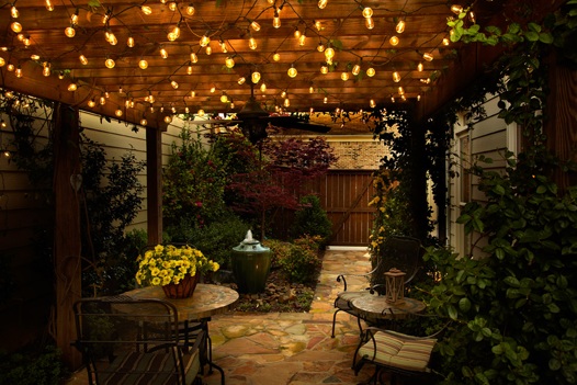 commercial outdoor globe string lights photo - 5