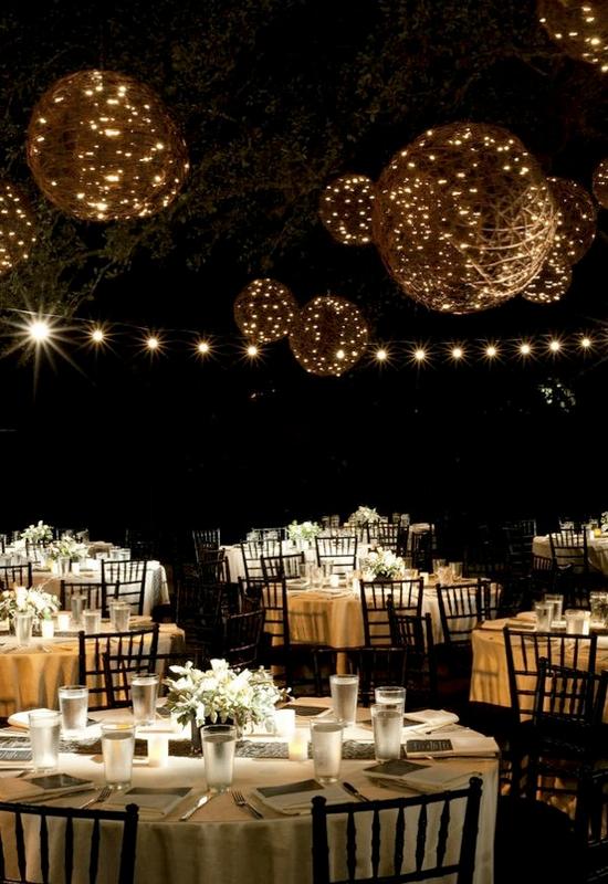 diy outdoor wedding lighting photo - 2