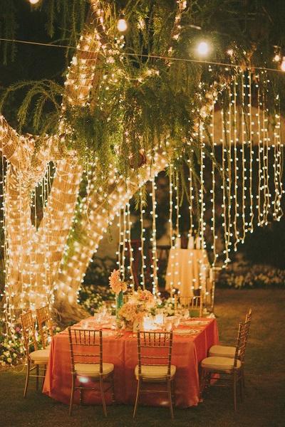 diy outdoor wedding lighting photo - 3