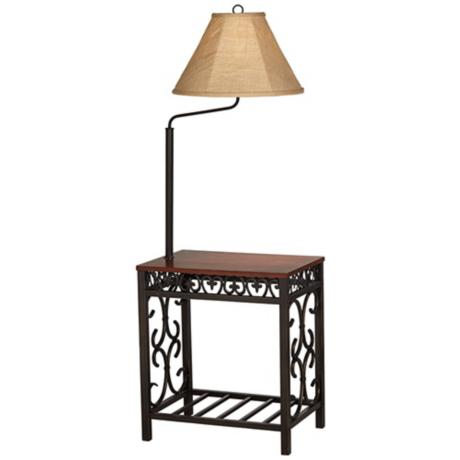 end table with lamp attached photo - 5