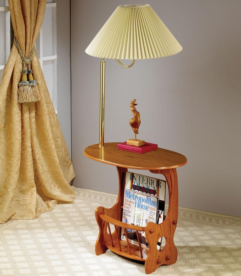 end table with lamp attached photo - 8