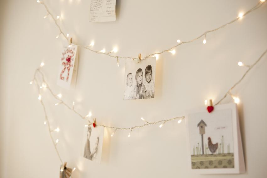 fairy lights on wall photo - 2