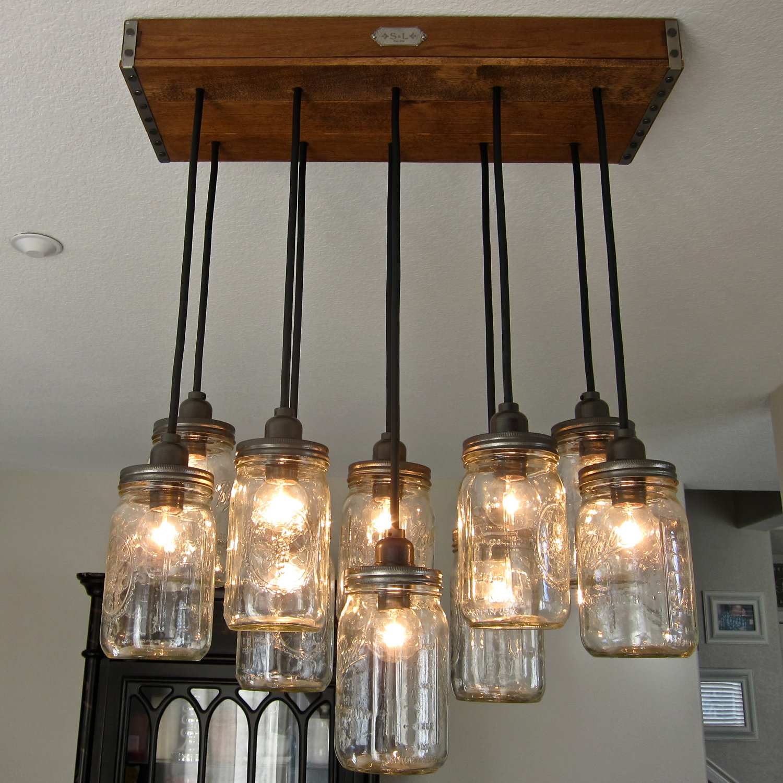 glass jar lamp photo - 2