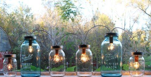 glass jar lamp photo - 9