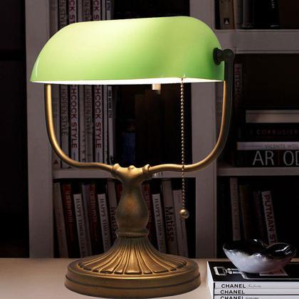 green glass desk lamp photo - 10