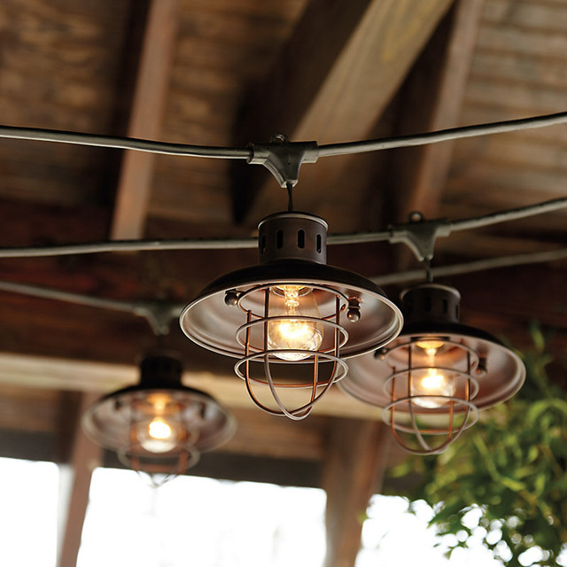 industrial string lights outdoor photo - 2