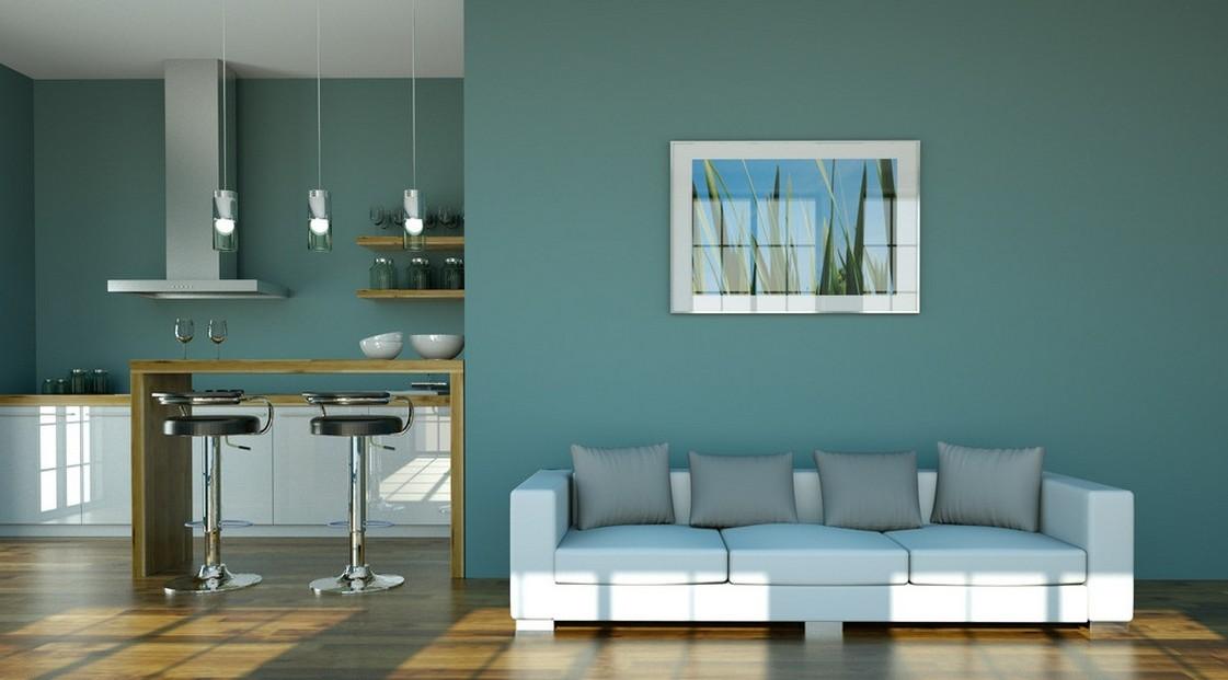 light blue walls in bedroom photo - 2