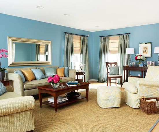 light blue walls in living room photo - 4