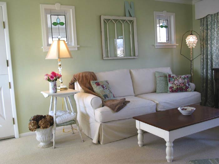light green walls living room photo - 1