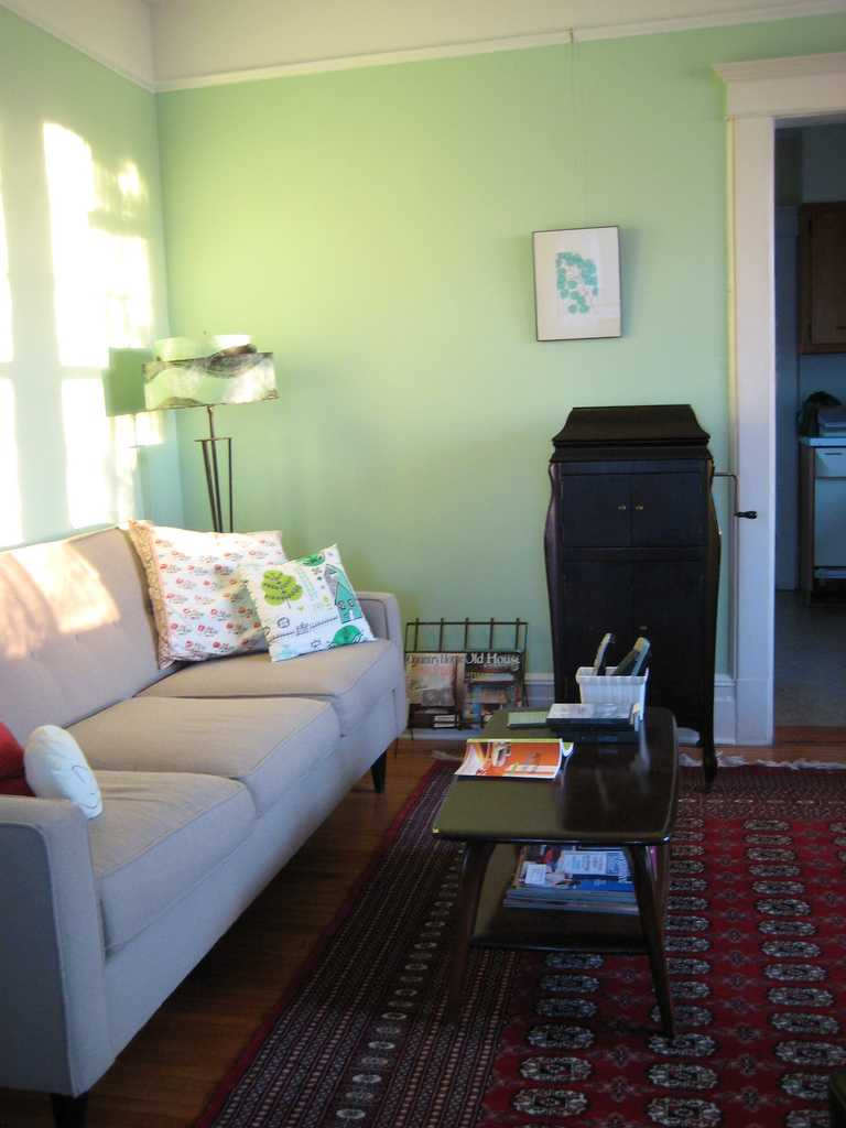 light green walls living room photo - 5