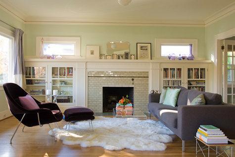 light green walls living room photo - 7