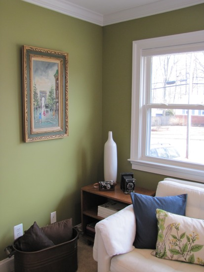 light green walls living room photo - 8
