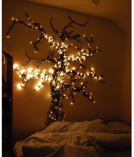 light tree on wall photo - 8