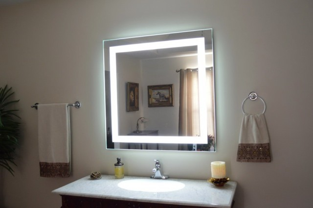 lighted vanity mirror wall photo - 9