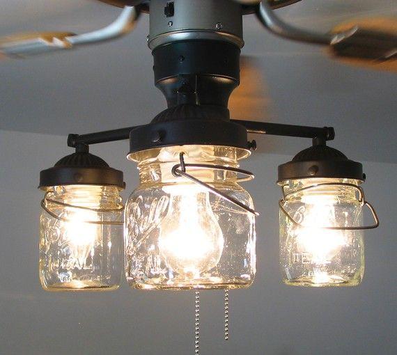 mason jar ceiling fan photo - 1