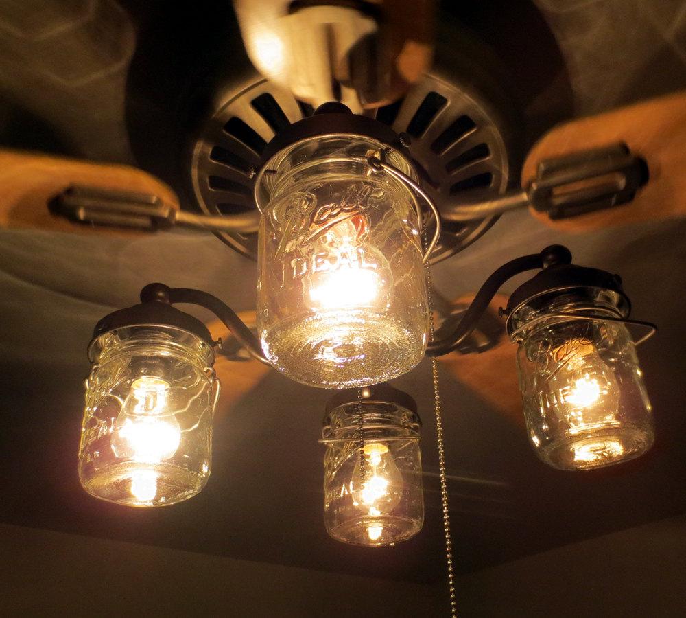 mason jar ceiling fan photo - 3