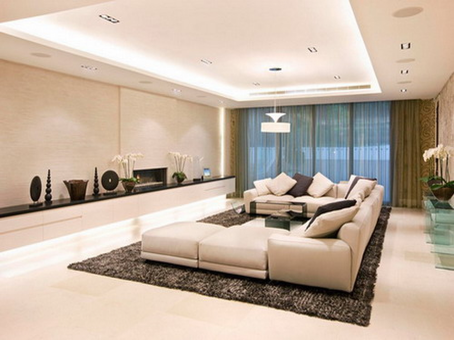modern ceiling lights living room photo - 3