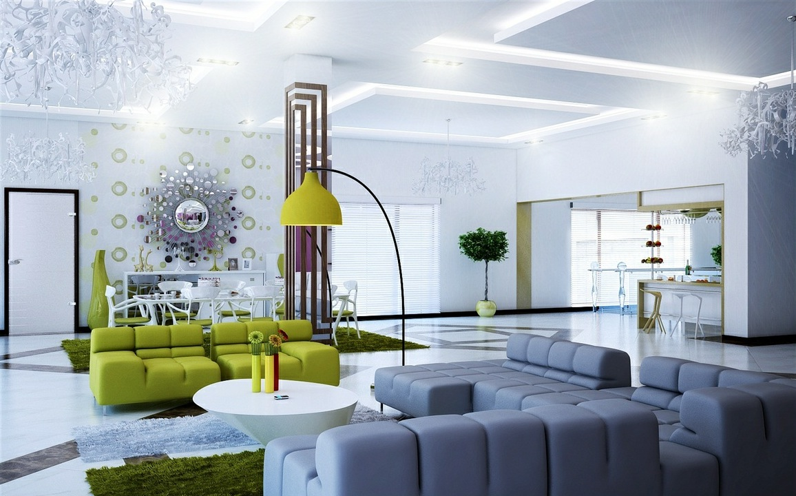Grey And Green Living Room modern table lamps for living room | bedroom and living room image