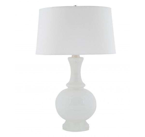 modern white table lamp photo - 1
