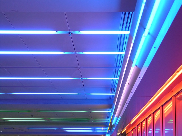 neon ceiling lights photo - 2