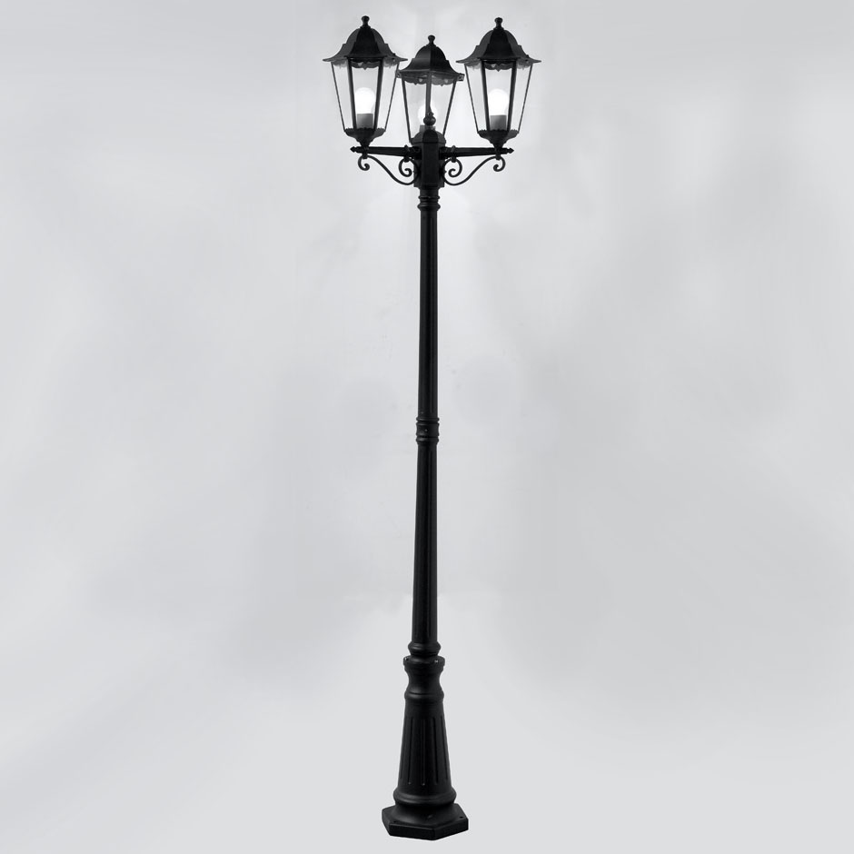 outdoor 3 light lamp post photo - 3