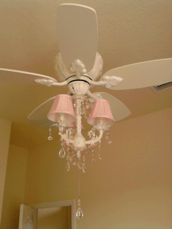 pink chandelier ceiling fan photo - 10