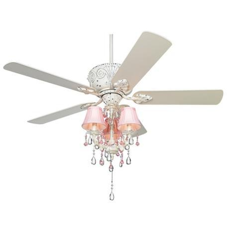 pink chandelier ceiling fan photo - 2