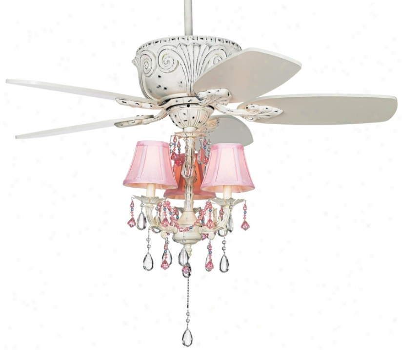 pink chandelier ceiling fan photo - 3